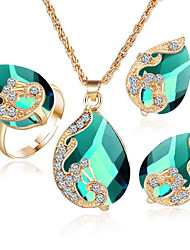 Women's Jewelry Set Crystal Heart Costume Jewelry Crystal Alloy Heart 1 Necklace 1 Pair of Earrings Rings For Party Wedding Gifts