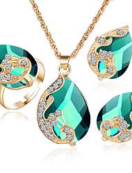 abordables -Femme Cristal Cristal Cœur Ensemble de bijoux Anneaux / 1 Collier / 1 Paire de Boucles d'Oreille - Cœur Rouge / Vert / Bleu Set de Bijoux