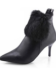 cheap -Women's Boots Fashion Boots PU Fall Winter Casual Dress Fashion Boots Stiletto Heel White Black Ruby 1in-1 3/4in