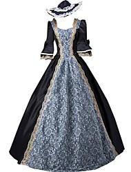 Victorien Rococo Femme Féminin Une Pièce Robes Noir Cosplay Dentelle Coton Manches Longues Longueur Sol
