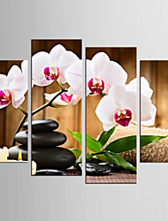 cheap -Canvas Set Still Life Floral/Botanical Modern Realism,Four Panels Canvas Any Shape Print Wall Decor For Home Decoration