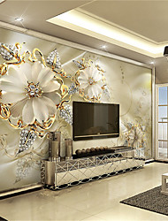 cheap -JAMMORY White Jade Carving Large Flower Decor 3D Fashion Wallpaper Personality Wallpaper Mural  Wall Covering Canvas Material Golden ChurchXL XXL XXXL