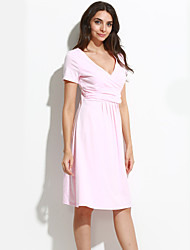 cheap -High Quality Women V Neck Pleated Maternity Dress , Cotton / Polyester Knee-length Short Sleeve Plus Size