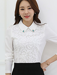 cheap -Women's Going Out  Doll Collar Lace / Chiffon Long Sleeve Blouse
