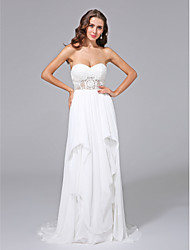 Sheath / Column Sweetheart Sweep / Brush Train Chiffon Lace Wedding Dress with Lace Pick-Up by LAN TING BRIDE®