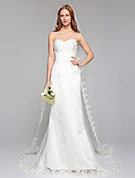 Sheath / Column Strapless Court Train Lace Wedding Dress with Beading Lace by LAN TING BRIDE®