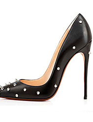 Women's Heels Spring Summer Fall Patent Leather PU Office & Career Casual Party & Evening Rivet White Black Gray Nude