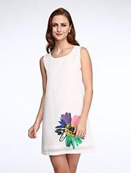 Mousseline de Soie Robe Femme Sortie Grandes Tailles simple,Imprimé Revers en Pointe Mi-long Manches Courtes Noir Vert Orange Polyester