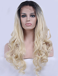 cheap -Synthetic Lace Front Wig Wavy Natural Hairline Blonde Women's Lace Front Natural Wigs Synthetic Hair