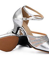 cheap -Women's Latin Sparkling Glitter Leather Heel Practice Beginner Indoor Outdoor Performance Buckle Sparkling Glitter Customized Heel Gold