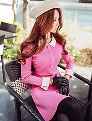 Feminino Evasê Bainha Tricô Vestido, Para Noite Casual Férias Simples Moda de Rua Sofisticado Estampa Colorida Colarinho de CamisaAcima