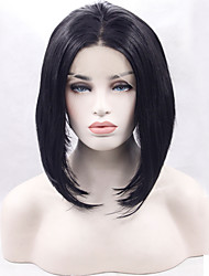 Heat Resistant Synthetic Lace Front Wigs Straight Hair Black Color Synthetic Bob Hair Fiber Wig