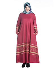 cheap -SWEET CURVE Women's Plus Size Simple Tunic Dress,Print Round Neck Maxi Long Sleeve Red Black Green Polyester Spring Mid Rise Micro-elastic Medium
