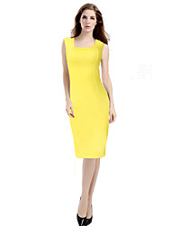 cheap -Women's Work Cotton Sheath Dress - Solid Colored Formal Style Square Neck / Summer
