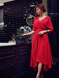 abordables -Gaine Balançoire Chemise Robe Femme Soirée / Cocktail Vacances Sortie Vintage Chic de Rue Sophistiqué,Couleur Pleine Col en VMidi