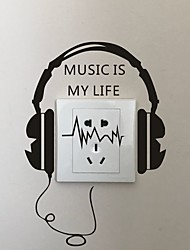 cheap -AYA DIY Wall Stickers Wall Decals Cartoon Earphone Type PVC Switch Panel Stickers 16*24cm
