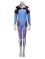 cheap -Inspired by Overwatch D.Va Video Game Cosplay Costumes Cosplay Suits Cosplay Tops/Bottoms Geometric Leotard/Onesie Gloves More Accessories