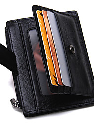 cheap -Men's Bags Cowhide Card & ID Holder / Zipper for Shopping / Sports / Outdoor Black