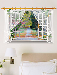 cheap -3D Blank Window Landscape Wall Stickers Fashion Removable 3D Wall Stickers Home And Garden Wall Art