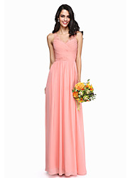cheap -A-Line V Neck Floor Length Chiffon Lace Bridesmaid Dress with Ruched Criss Cross by LAN TING BRIDE®