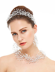 Jewelry 1 Necklace 1 Pair of Earrings Hair Jewelry Crystal Rhinestone Wedding Party Special Occasion Crystal Rhinestone 1 pair White