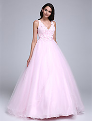cheap -Ball Gown V Neck Floor Length Tulle See Through Formal Evening Dress with Beading / Flower by TS Couture®