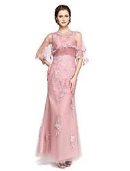 A-line v-collo lunghezza alla caviglia merletto tulle madre del vestito sposa con appliques pieghe