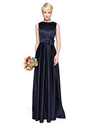 Sheath / Column Jewel Neck Floor Length Satin Bridesmaid Dress with Flower(s) Pleats by LAN TING BRIDE®