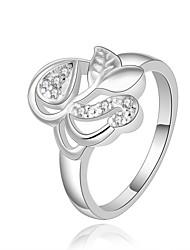 Ring Kvadratisk Zirconium Zirkonium Kvadratisk Zirconium Plastik Sølvbelagt Mode Sølv Smykker Daglig Afslappet 1 Stk.