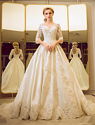 cheap -Ball Gown Illusion Neckline Court Train Tulle Wedding Dress with Beading by Yuanfeishani