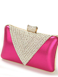 Women Bags All Seasons PU Evening Bag Crystal/ Rhinestone for Wedding Event/Party Casual Formal Office & Career Gold Black Silver Fuchsia