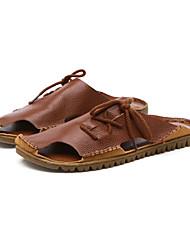 cheap -Men's PU(Polyurethane) Summer Slingback Slippers & Flip-Flops Walking Shoes Wearable Black / Light Brown / Dark Brown