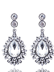 cheap -European And American Fashion Long Full Diamond Drop Earrings