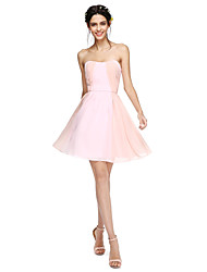 A-Line Strapless Knee Length Chiffon Bridesmaid Dress with Draping by LAN TING BRIDE®