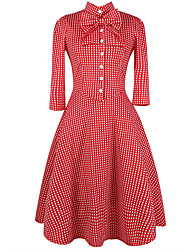 Women's Bow Going out Casual/Daily Vintage Grace Slim Street chic Sheath Swing DressPlaid Bow Pleated Shirt Collar Above Knee Long Sleeve