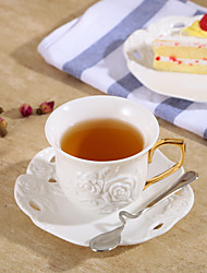 1 PC 200ML A High-Grade Lace Coffee Cup And Saucer Are Embossed Roses