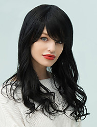 Long Oblique Bang Layered Fluffy Wavy Human Hair Wig