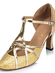 cheap -Women's Latin Sparkling Glitter Full Sole Practice Beginner Indoor Outdoor Performance Buckle Sparkling Glitter Flared Heel Gold Silver