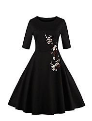 cheap -Women's Plus Size Party Vintage Sheath Dress,Embroidered Round Neck Knee-length ¾ Sleeve Cotton Polyester White Black SummerHigh