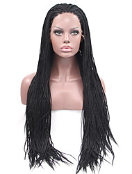 cheap -Synthetic Lace Front Wig Straight Synthetic Hair Natural Hairline / African American Wig / Braided Wig Black Wig Women's Long Lace Front Wig