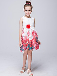 A-Line Knee Length Flower Girl Dress - Polyester Sleeveless Jewel Neck with Pattern / Print by YDN