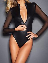 Недорогие -Ультра-секси Ночное белье Однотонный-Средняя Лакированная кожа Черный