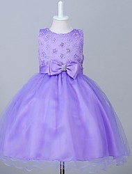 cheap -Ball Gown Knee Length Flower Girl Dress - Organza Sleeveless Jewel Neck with Beading by YDN