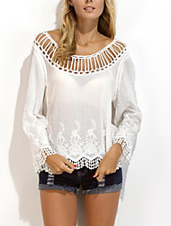 cheap -Women's Cut Out|Lace|Flare Sleeve Daily Casual All Seasons Shirt