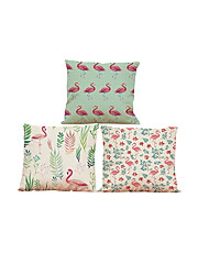 "cheap -Set of 3 Flamingo Birds Cushion Cover 3 Styles Printed Linen Cushion Cover Creative Decoration  (18""*18"")"