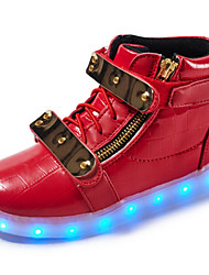 cheap -Boys' Shoes Synthetic Microfiber PU Spring Fall Light Up Shoes Novelty Comfort Sneakers LED Magic Tape for Casual Outdoor White Black Red