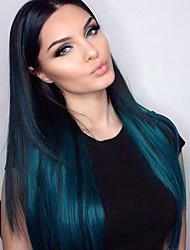 T1b/Blue Ombre Glueless Lace Front Wig Brazilian Virgin Human Hair Silky Straight Lace Wigs with Baby Hair