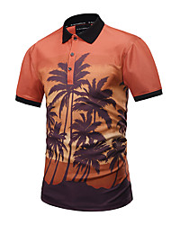 Men's Casual/Daily Party/Cocktail Club Street chic Active Punk & Gothic Summer PoloPrint Shirt Collar Short Sleeve Orange