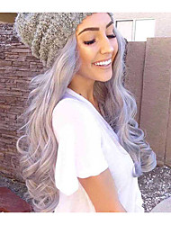 Grey Lace Front Wig Wave Long Fashion Daily Popular Synthetic Lace Front Wigs High Quality Cheap