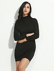 Women's Going out / Casual/Daily / Formal Sexy / Cute A Line Dress,Solid Turtleneck Above Knee Long Sleeve Black Polyester Fall / Winter